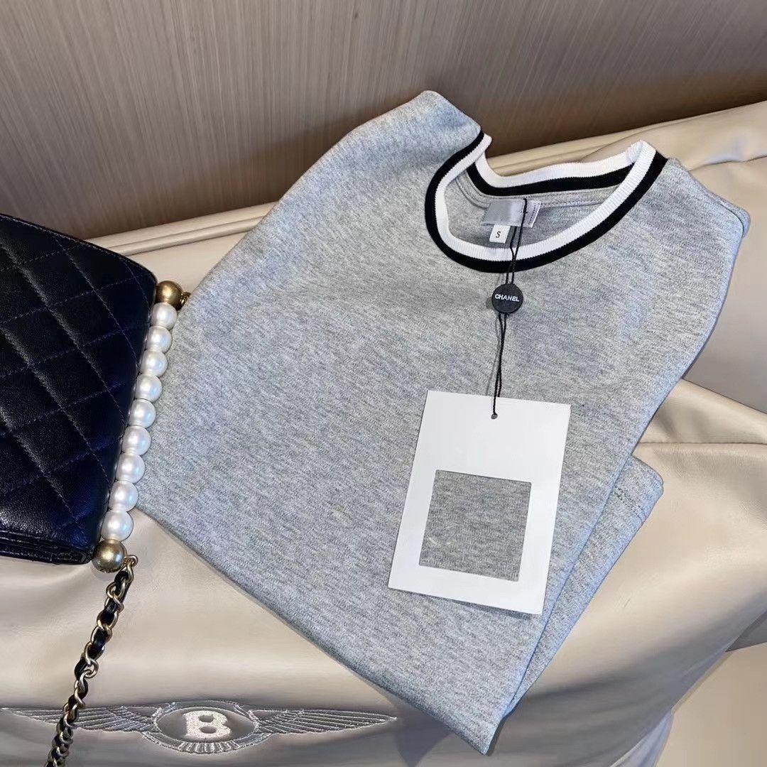 2021 Neue Frauen Rundhals-Buchstaben Stickerei Schwarz-Weiß-Kontrastfarbe Kragen Slim Slimming Kurzärmeliges T-Shirt Ultra Short T-Shirt