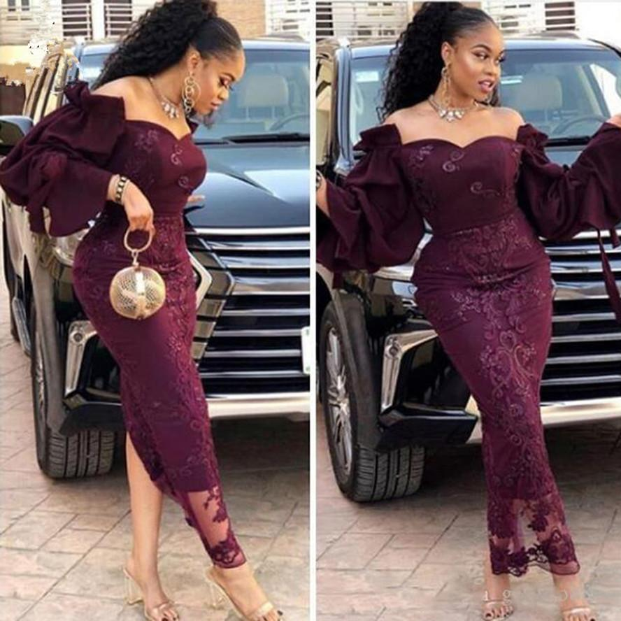 2021 Arabia Long Evening Dress Mermaid Dubai Aso Ebi Ankle Length Prom Gowns Off shoulder Zipper Back Purple Formal Party Dress