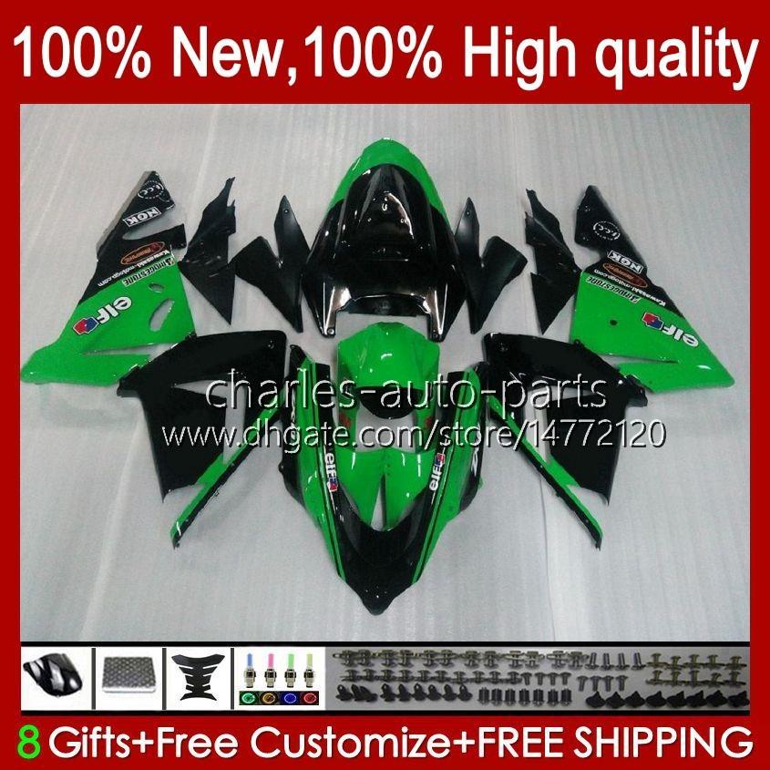 Body Kit OEM für Kawasaki Ninja ZX1000C ZX 10 R 1000 CC ZX1000 04-05 Karosserie 9NO.9 ZX 10R 1000cc ZX10R 04 05 ZX-10R ZX1000CC 2004 2005 Motorradverkleidung Aktiengrün