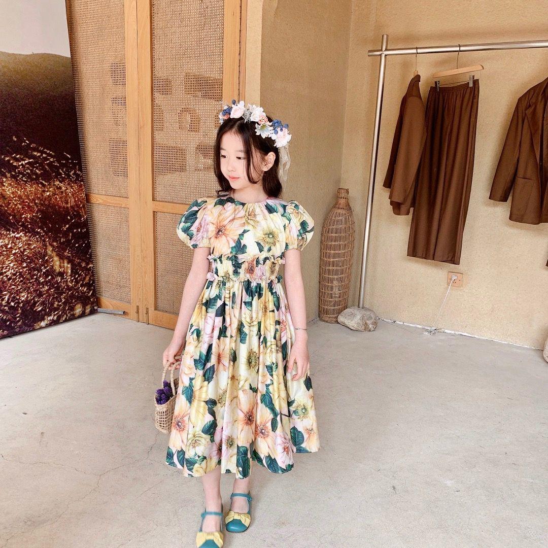 free shipping Kids Girls Dress 2021 Summer Baby Girl Flowers Princess Dresses Sweet Lovely party Dress Children Clothing