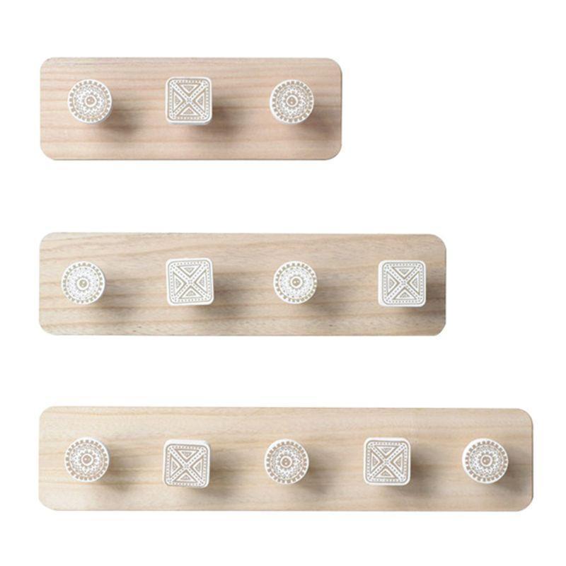 Nordic Wood Coat Cabide Gancho de parede Home Decorativo Roupas Cabides Chave Suporte de Parede Montado Prateleira Cabeceiro Prateleira Varejo