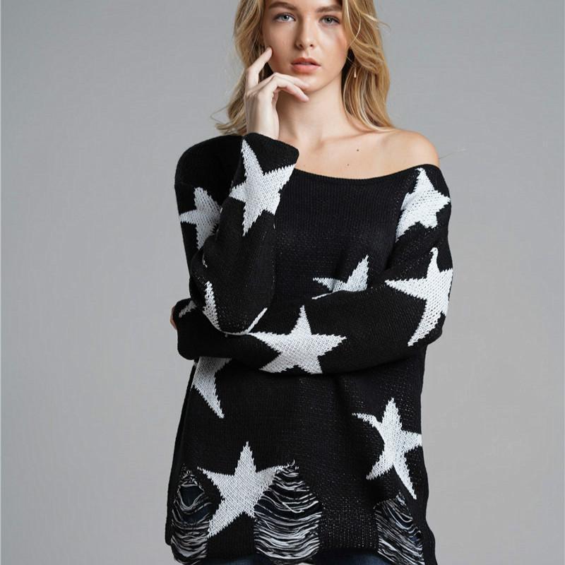 Frauenpullover Pullover 2021 Herbst- und Winter-Pullover Große Größe Lose Loch Dekoration Trendy langärmelig