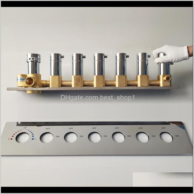 Bathroom Shower Valve Mixing Big Water Flow Shower Faucets 5 Or 6 Ways Thermostatic Brass Diverter Valves Shower Controller Chrome S03 A6Sbn