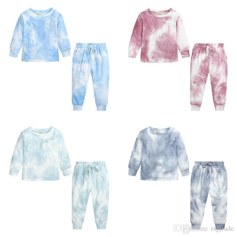 KT Newest INS Unisex Pajamas Sets Kids Die Tie Pajamas clothes Straps Home Clothes Fashions Casual Girls suit Sleepwear Homewear