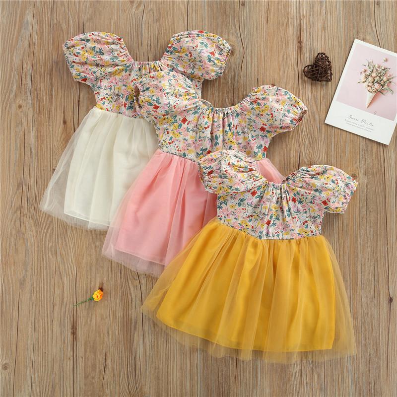 Vestidos de niña 1-3 años Niñas para bebés Vestido para niños creativo creativo de impresión floral Malla para niña empalmando el backless Bow Pie Princess Party