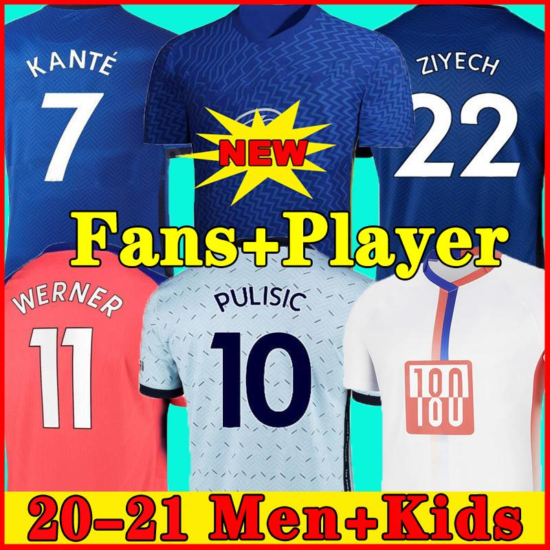 태국 네 번째 20 21 Werner Havertz Chilwell Ziyech 축구 유니폼 2020 2021 Pulisic Football Shirt Kante Mount 4th Men 키즈 세트 키트 탑스