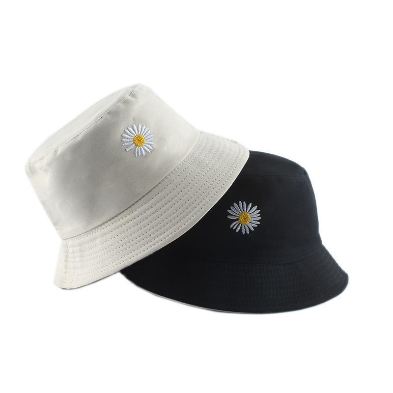 Breite Krempe Hüte Sommer Gänseblümchen Stickerei Eimer Hut Frauen Baumwolle Mode Sonnenkappe Mädchen Reversible Daisy Bob Femme Floral Panama