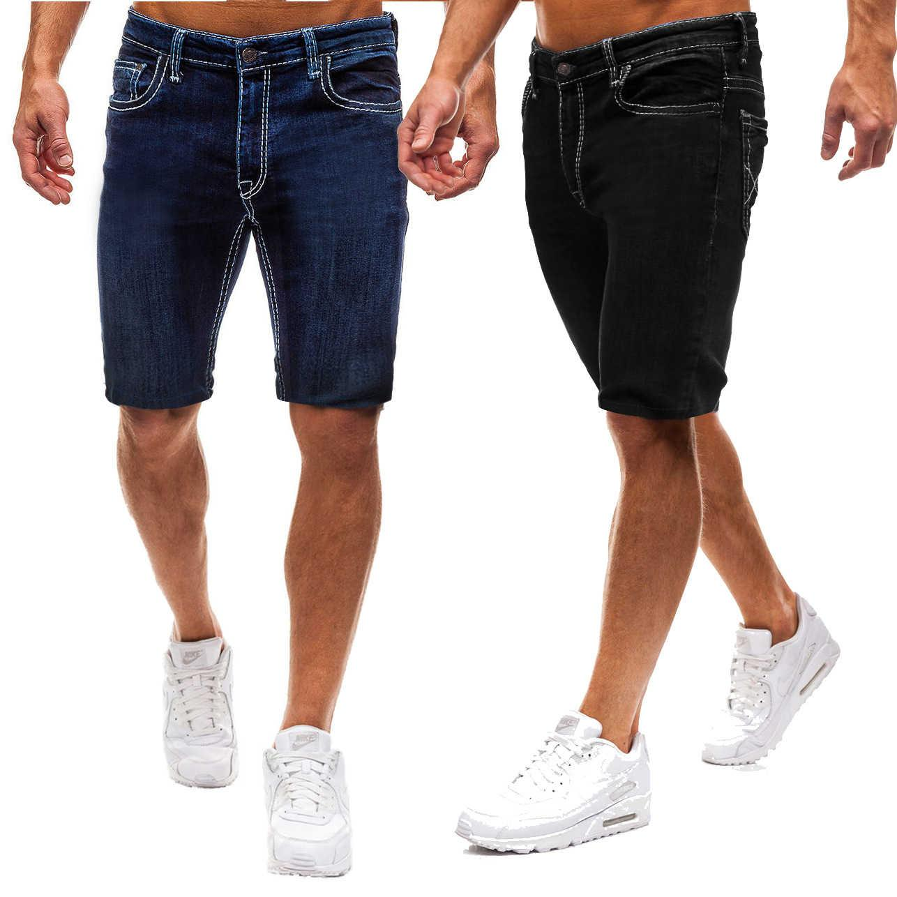 2019 New Jeans Solid Color Shorts Fashion Men's Casual Jeanskwg5