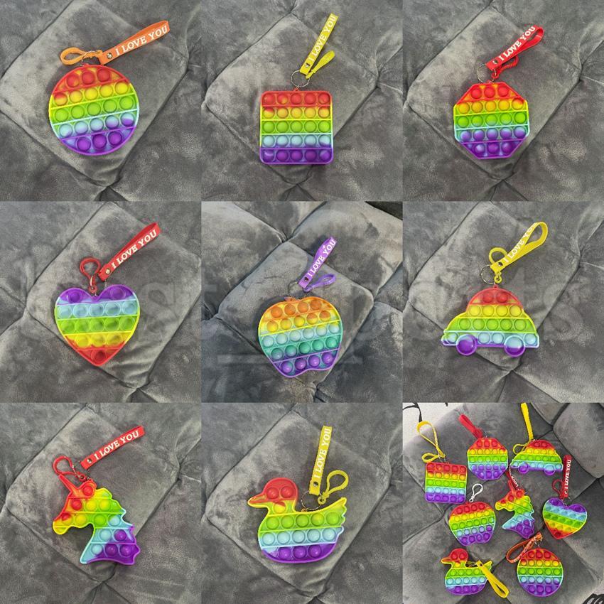 Push blase fidget spielzeug keychain ich liebe u dekompression spielzeug schlüsselanhänger lustige cartoon antistress regenbogen zappeln sensory spielzeug schlüsselanhänger cyz3204