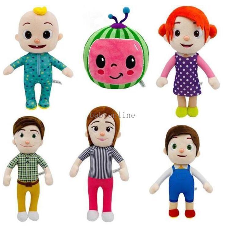 EU estoque 15-33cm Cocomelon brinquedo de pelúcia macio cartoon família Cocomelon JJ família irmã irmão mãe e pai brinquedo dall crianças chitmas presentes fy7339