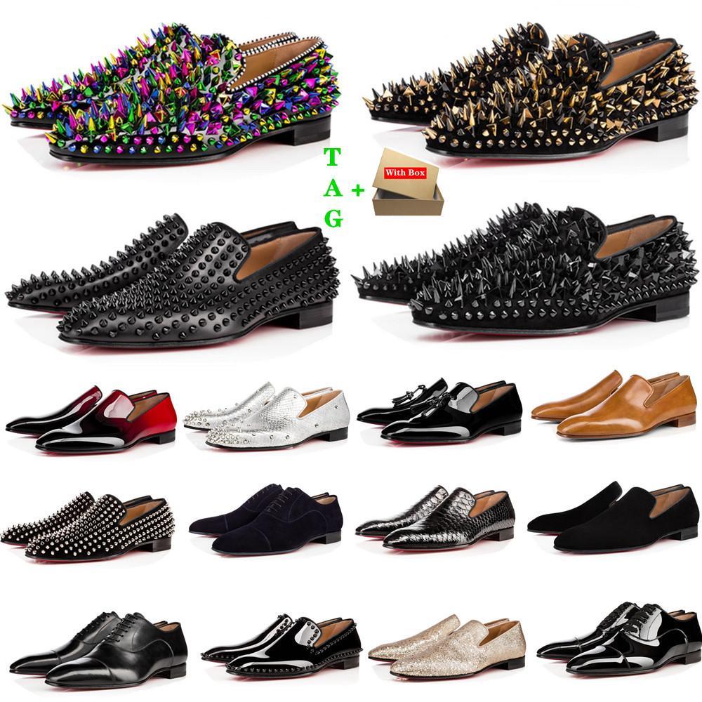 브랜드 망 붉은 하단 신발 디자이너 낮은 평평한 리벳 남자 비즈니스 연회 드레스 신발 Luxurys 특허 스웨이드 스파이크 정품 스타일리스트 가죽 스니커즈