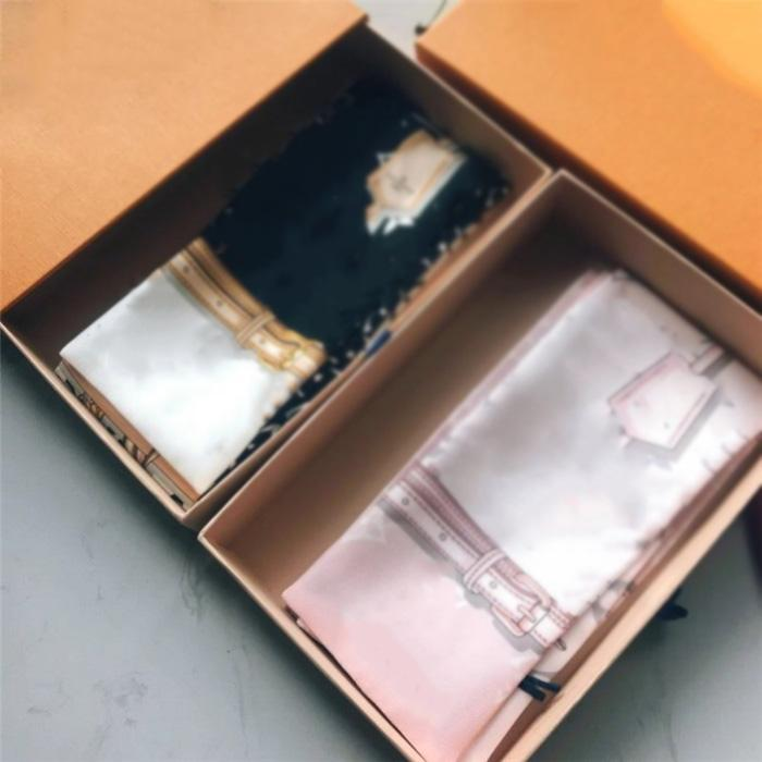 أزياء رجالية والنساء عقال العلامة التجارية المطبوعة القوس الحرير وشاح حقيبة يد الديكور الشريط 120 * 7CM لها مربع