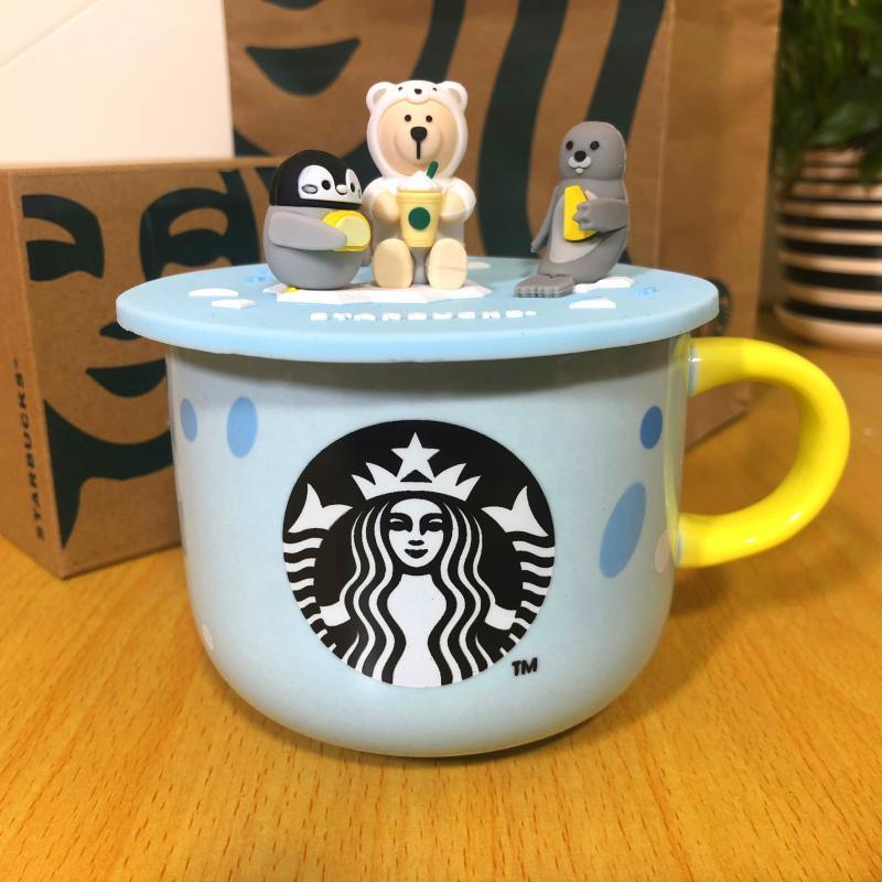 Starbuck Sea Animal Tazza Giallo Manico Giallo Tazza d'acqua in ceramica Summer Sea Lion Tazza del fumetto con coperchio 414ml