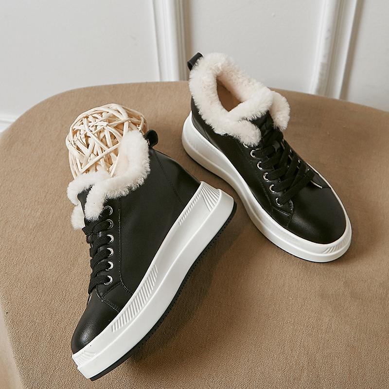 Womens Genuine Leather Lace-Up Plataforma Flats Winter Lãs Quente Pelúcia Casual Feminino Soft Calçado Calçado Sapatos Para Sapatos Womendress