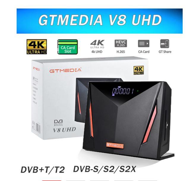 Nouvelle arrivée GT Media V8 UHD 4K DVB-S2X + T2 Récepteur avec Smart Card Slot Support 4K SCART / USB / PVR / H.265 HEVC / WIFI