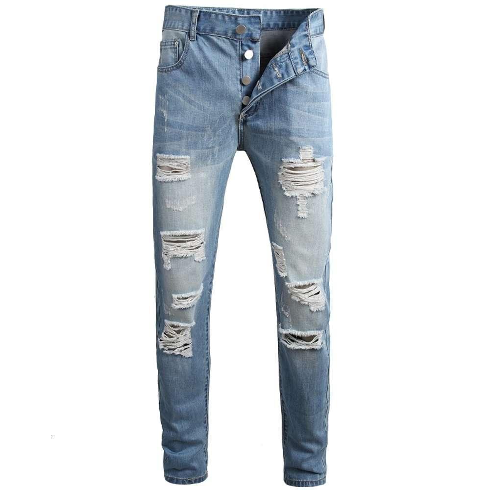 Yeni Erkek Sıkıntılı Yırtık Skinny Jeans Moda Tasarımcısı Slim Fit Yıkanmış Motosiklet Denim Pantolon Hip Hop Biker Delik Pantolon JB904