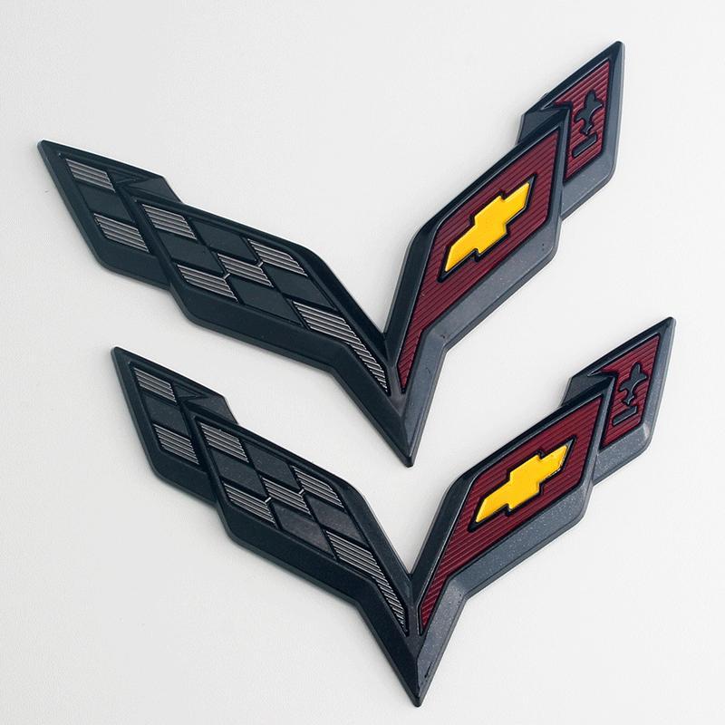 검은 전면 및 후면 자동차 수정 바디 스티커가있는 Chevrolet Corvette 자동차에 적합한 1Pair ABS 자동차 스티커