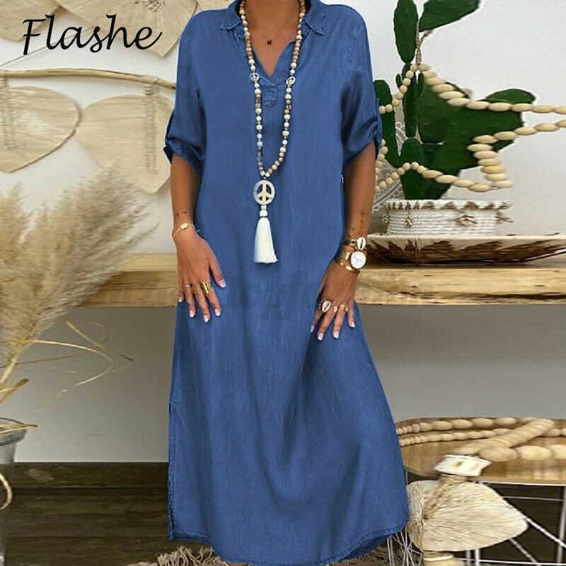 Plus Größenkleider für Frauen Casual Kurzarm Solid Party Kleid Sommer Lose Kleid Umdrehen Kragen Vintage Frauen Kleid 210603