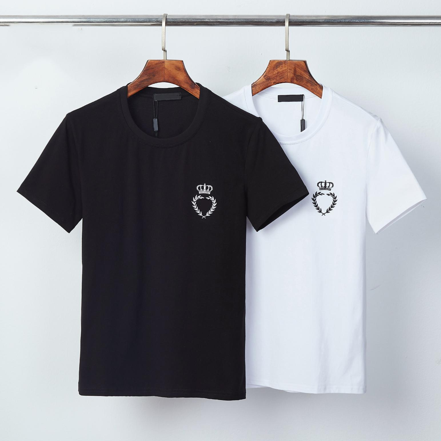 클래식 크라운 킹 스타일리스트 남성 티셔츠 # 007 유럽 밀라노 패션 여름 짧은 소매 럭셔리 로얄 스트리트웨어 탑 디자이너 남성 캐주얼 티셔츠