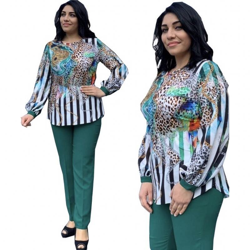 2 шт. Определяет афорическую женскую одежду плюс размер брюки брюки предпринимателей Офисные вершины + брюки африканские дамы'ensemble костюмы Exgx