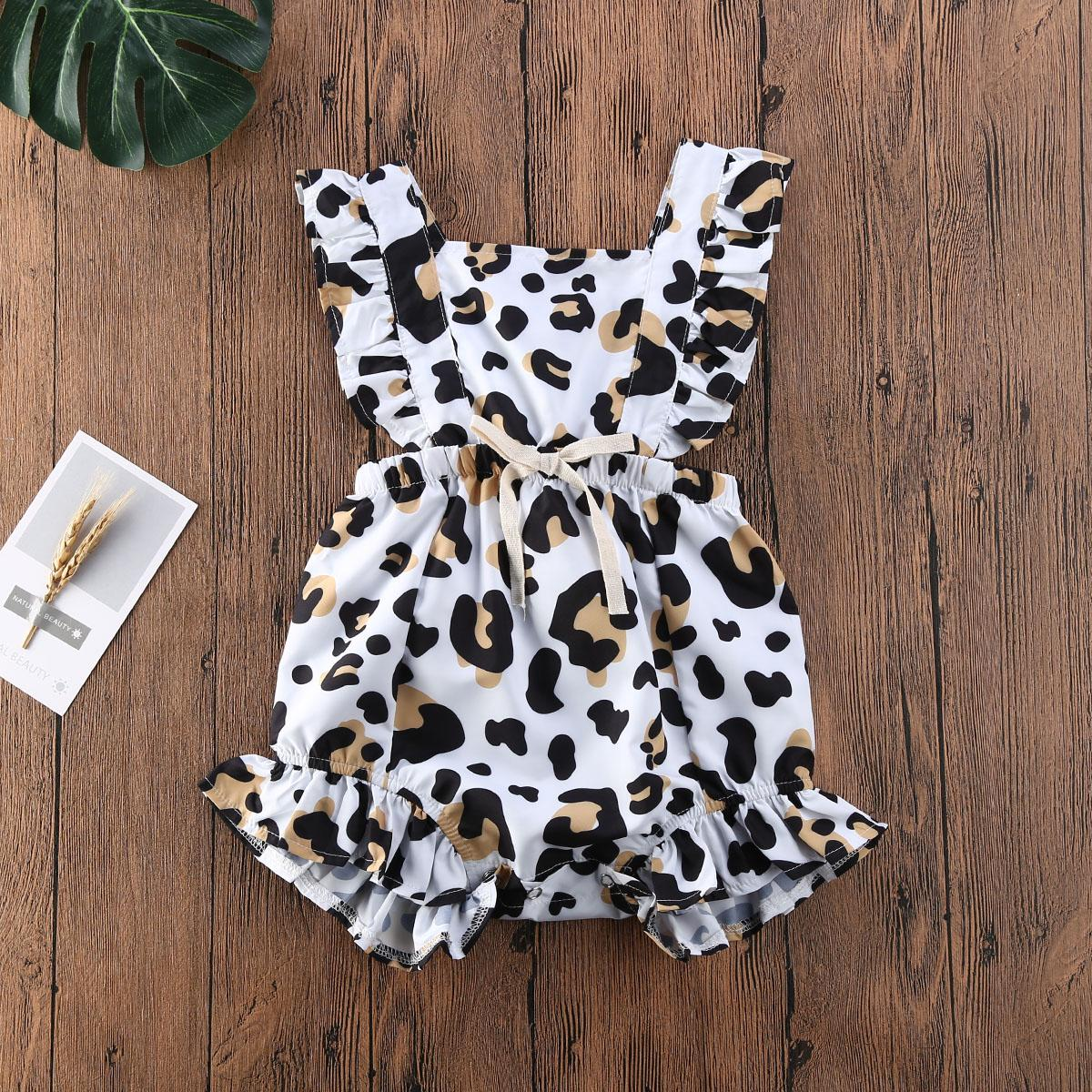 Baby Kleidung Mädchen Leopard Print Sleeveless Rüschen Strampler Neugeborenen Overall One-Piece Sonnenanzug Baby Sommer Kleidung