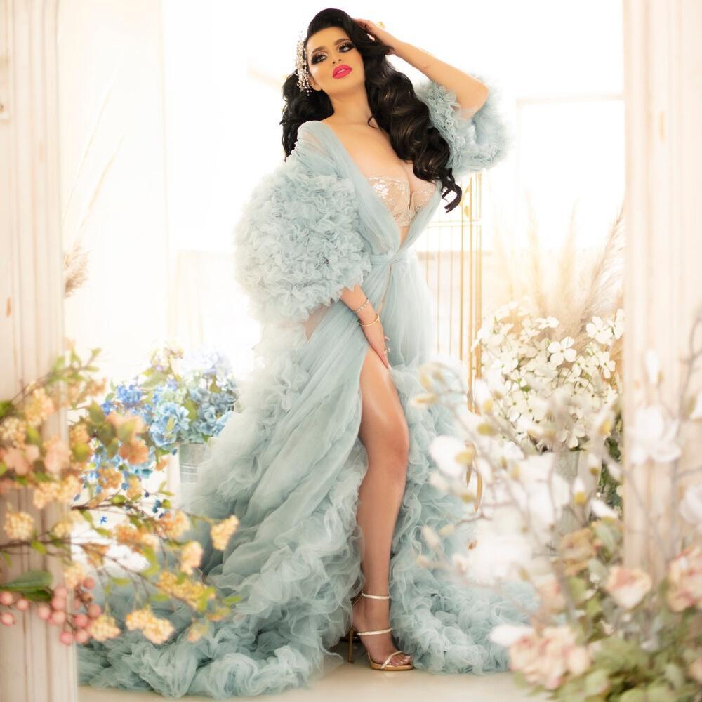 Abiti da sera Tulle Ruffles di lusso 2021 A Linea lunga Robe Robe Abiti da ballo formale Illusione Vestido De Novia