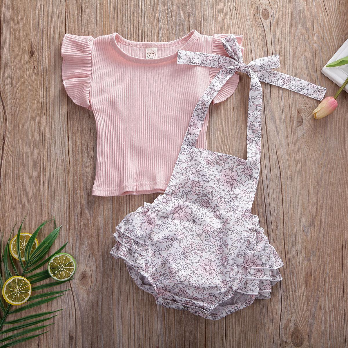 0-18m 2 stücke Neugeborene Baby Mädchen Outfits Kleidung Tops Hemd + Tutu Shorts Hosen Set