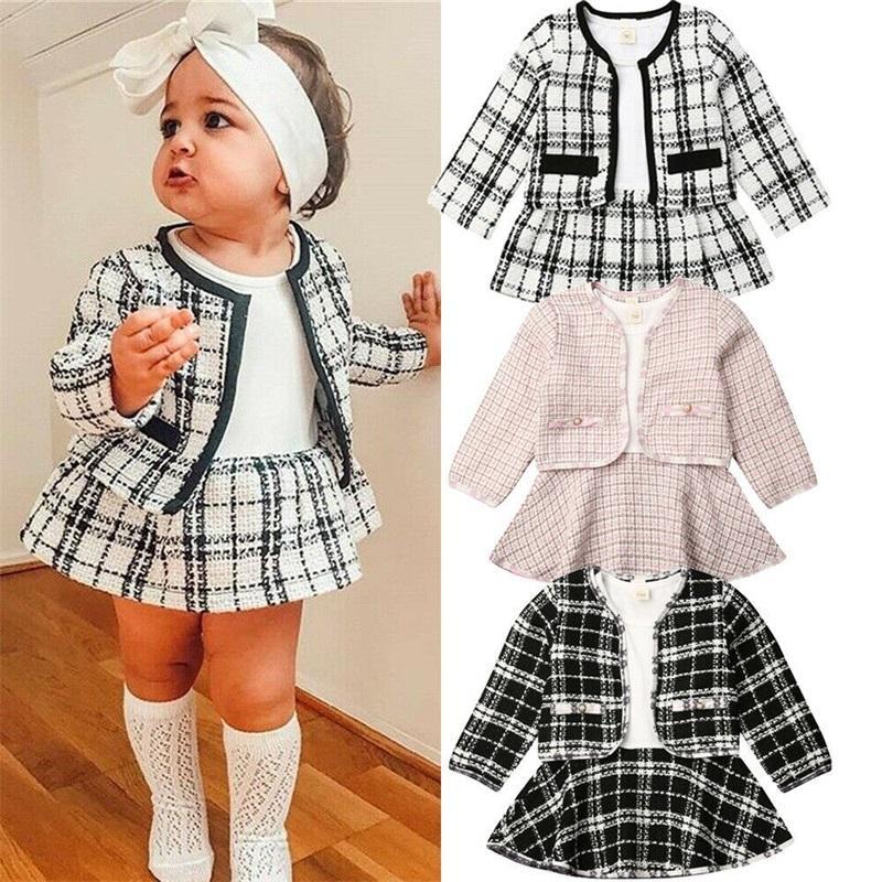 귀여운 아기 소녀 옷 qulity 소재 디자이너 2 조각 드레스와 재킷 코트 beatufil 트렌디 한 유아 여자 정장 복장 507 Y2