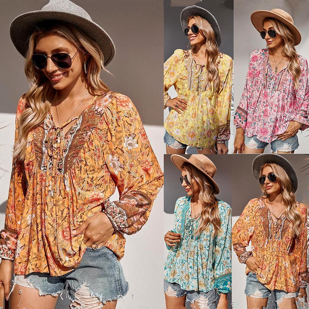 Femmes floral impression Bohemian Beach Blouses Chemises 2021 Nouveau cordon de cordon de cordon d'été Summer Style de vacances Style de vacances à manches longues à manches longues décontractées dames