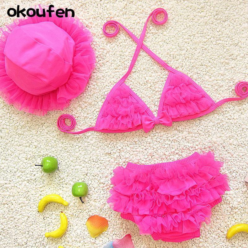 Okoufen 2021 Nouvelle mode Baby Girl Bikini Maillot de bain Qualité 3 en 1 Bébé fille maillot de bain des enfants d'été pour enfants