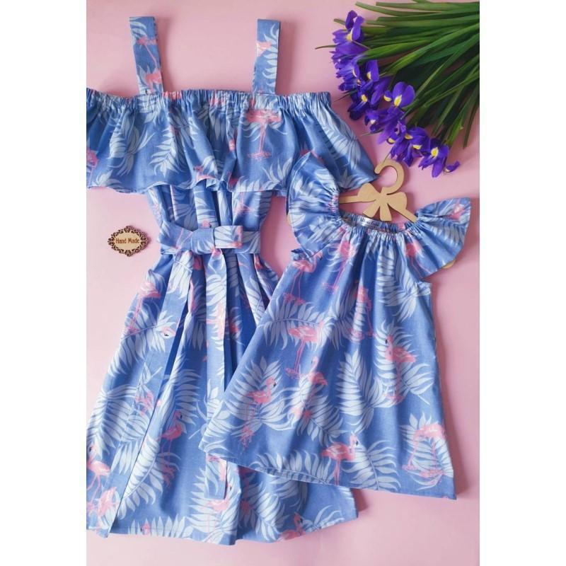 Flamingo Print ruffles вне плеча спагетти ремешки платье мамочка и мне семейные пасхальные платья соответствующие наряды