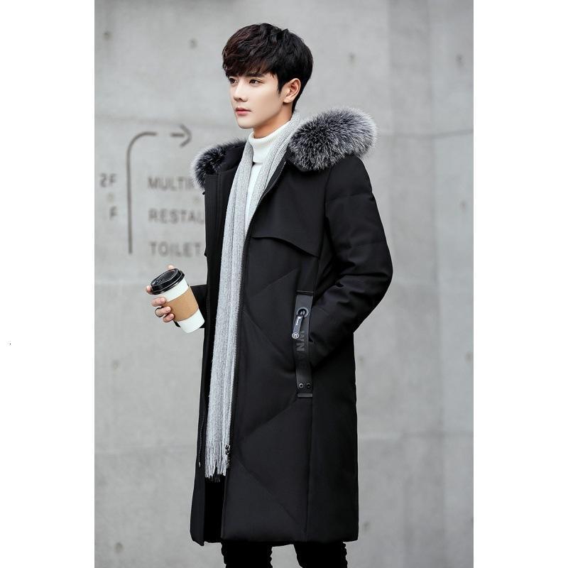 Куртка зимнего колена в середине длинной молодежи тренд прохладно с волосатым воротником и утолщенным мужским пальто