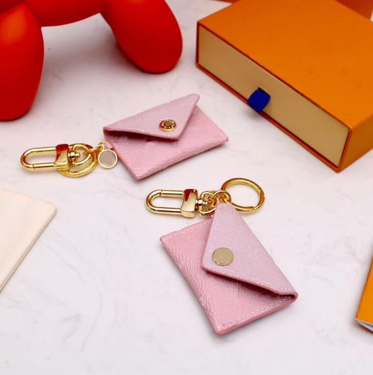 Designer Unisex Letter Wallet Keychain Keyring Fashion Purse Pendant Car Chain Charm Pink Flower Mini Bag Trinket Gifts Accessories
