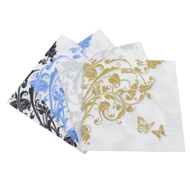 33 * 33cm 20 pçs / lote flores borboleta cor impresso guardanapo rosto de papel casamento festa de aniversário decoração de papel