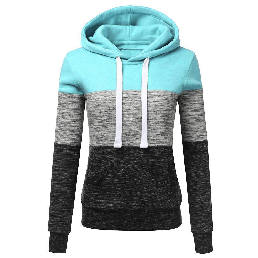 Fashion Womens Casual Hoodies Sweatshirt Patchwork Ladies Hooded Blouse Pullove warm hoodies for women winter vetement femme Y3