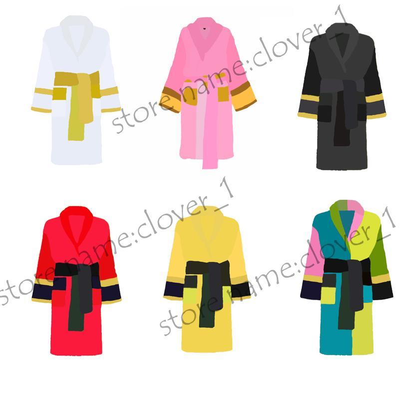 Mulheres Clássicas Casa Robes Unisex Sleepwear Luxurys Homens Bathrobe Alta Qualidade Cinto Pijama Manga Longa Sólida Nightwear K1739