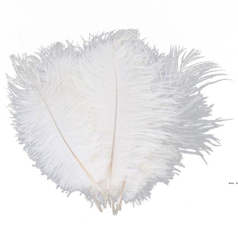 10pcs Bianco Struzzo piuma piuma Plume 20-25 cm per centrotavola di nozze decorazione di nozze decorazione del partito rifornimento della fornitura della decorazione dell'Ambarco HWF5427