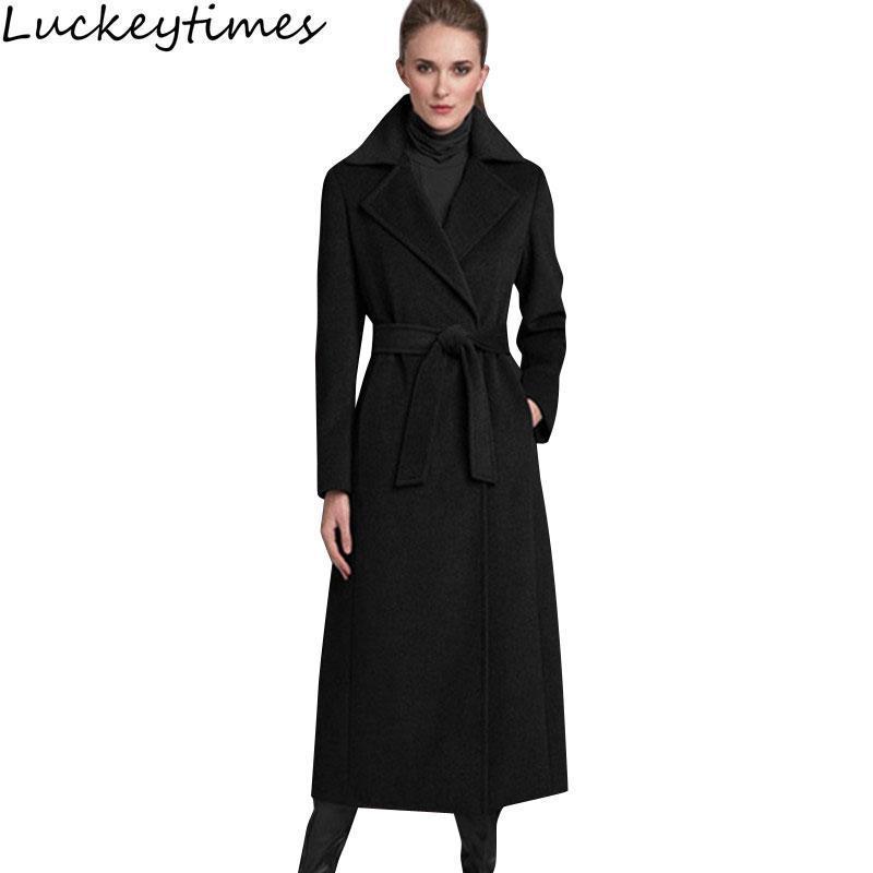 Women's Wool & Blends Autumn Winter Black Long Women Trench 2021 Fashion Elegant Female Slim Belt Outerwear Lady Holiday Warm Chic Overcoat