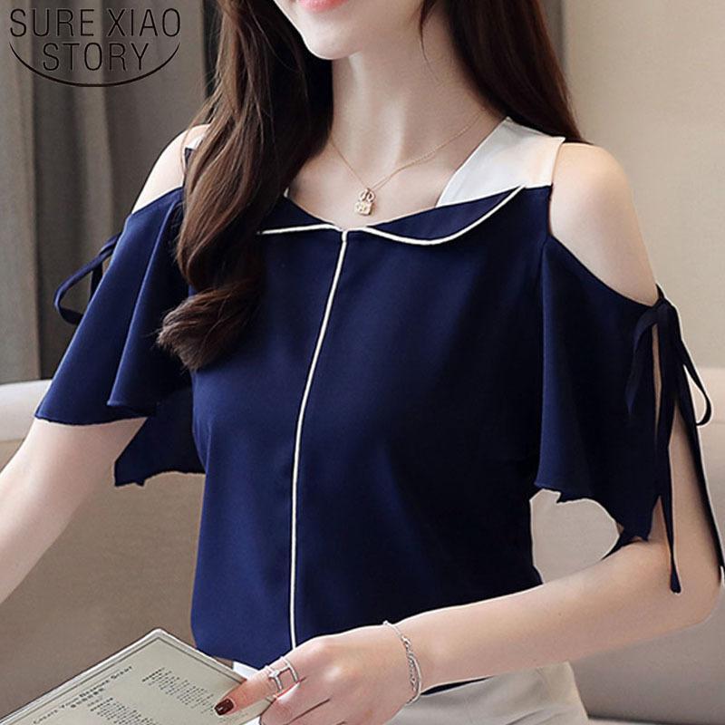 Moda Donne Camicetta e Top 2021 Camicetta Bianco Camicette Ladies Top Camicie Chiffon Camicie Chiffon Camicetta V-Neck Sleeve Sleeve 3630 50 21302