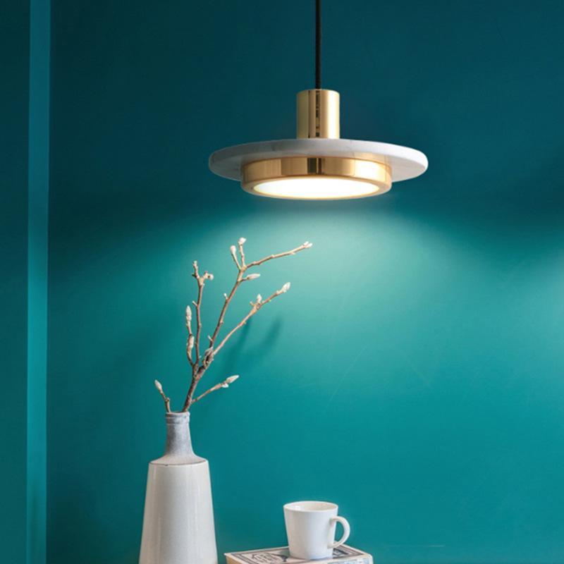 Nordic Mármore LED Lâmpada Lâmpada Lâmpada Moderna Simples Arte Quarto Bedside Cabeça Singular Pendurado Creative Sala de jantar Decoração Luminária
