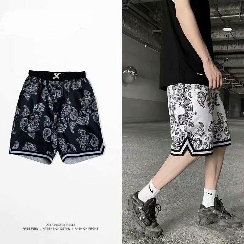 الصيف السراويل الرجال المتناثرة نمط الكاجو زهرة الشاطئ الهيب هوب أزياء العلامة التجارية فضفاض السراويل مستقيم