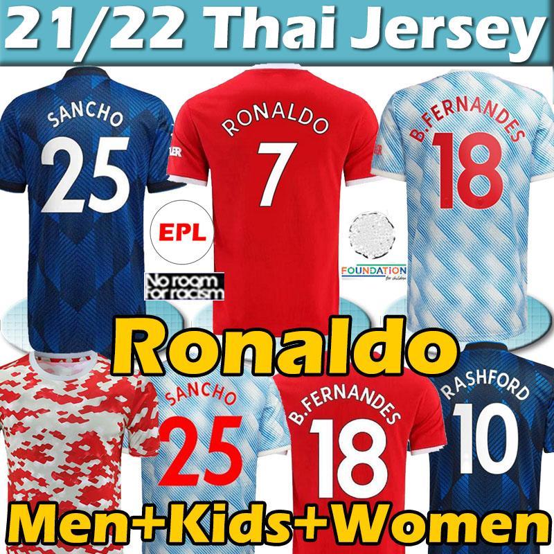 manchester united soccer jerseys 4XL Manchester Human 2020 21 UTD Rennen Fußballspieler Fans Jerseys B. Fernandes Martial Rashford Football Hemden Mann Kinder Kit Uniformen Top