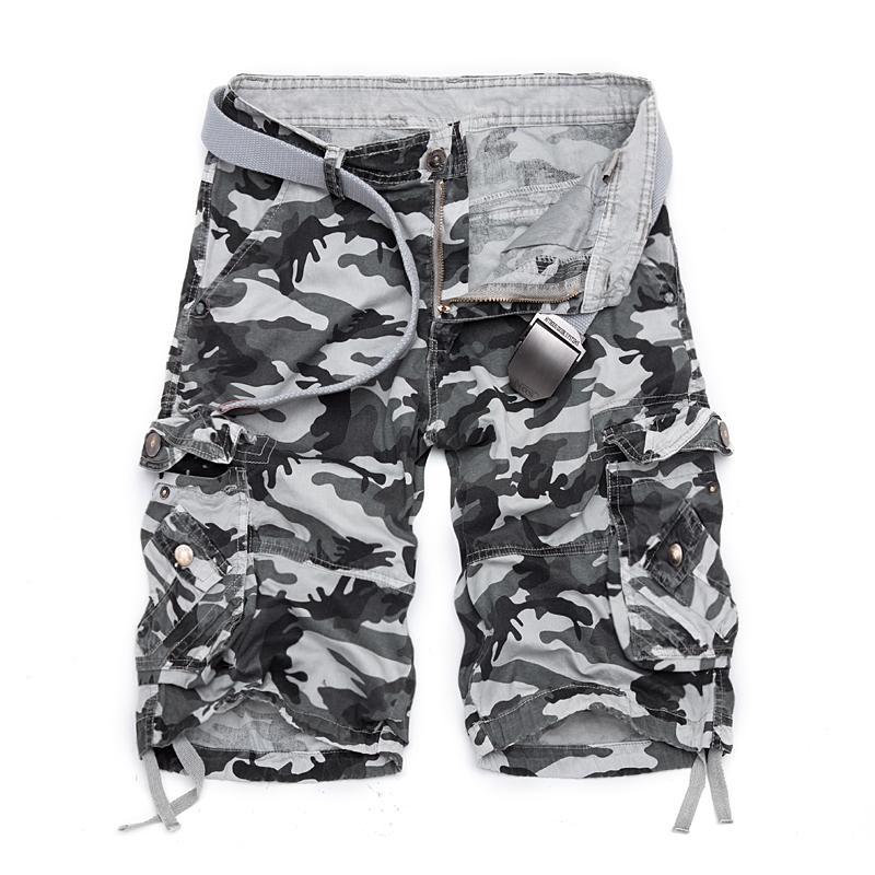 Camuflaje suelto pantalones cortos de carga hombres fresco camo verano pantalones cortos venta caliente homme cargo shorts más tamaño marca ropa 210302