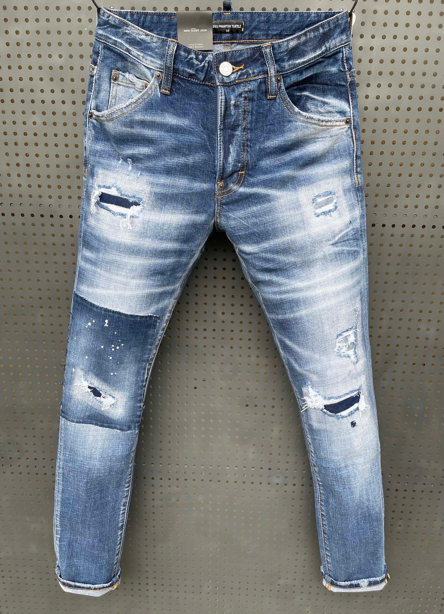 DSQ Brand Jeans hommes de luxe Designer Jeans Skinny déchiré cool Guy Causal Hole Denim Fashion Fit Jeans Hommes lavés Pantalons 61266