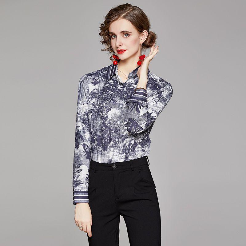 Лучшие продажи дамы классические печатные рубашки взлетно-посадочные полосы женские дизайнерские блузки красивые длинные рукава весна осенью кнопка элегантная рубашка офис Slim Fit стильные вершины