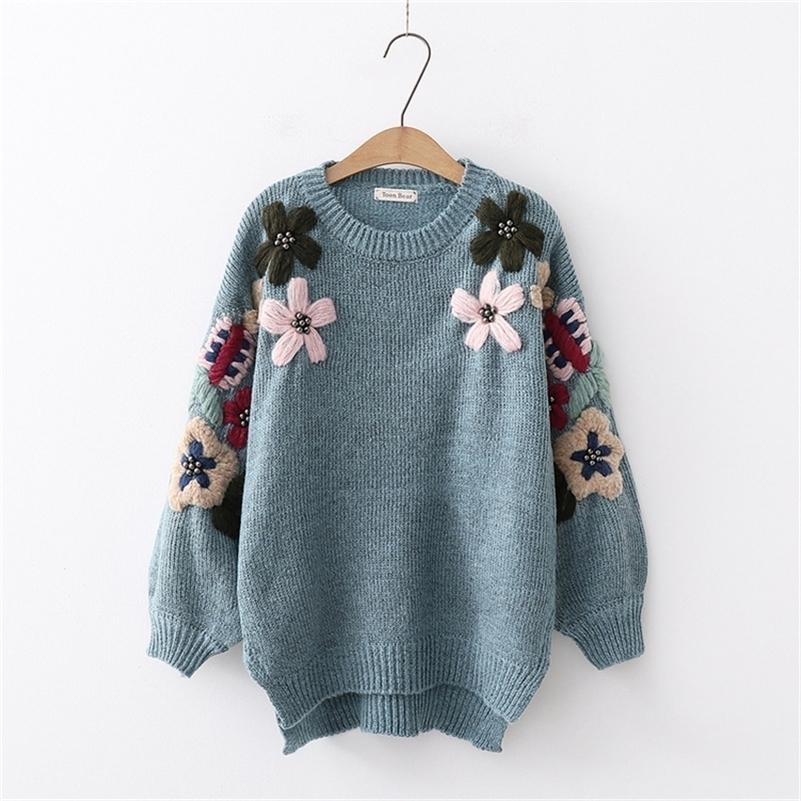 Autumn and Winter New Sen Dipartimento Sentro Fresh Flower Beaded Pullover Maglione Sweater Wild Donne Maglione LJ201017