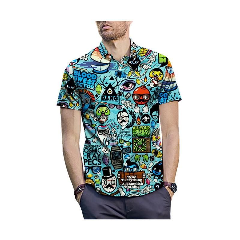 PLUS Taille 2XL Hommes Été Casual Dessin animé 3D Imprimé à manches courtes T-shirt T-shirt Collier Collier Top Chemise Hawaiian Chemise Homme C0305