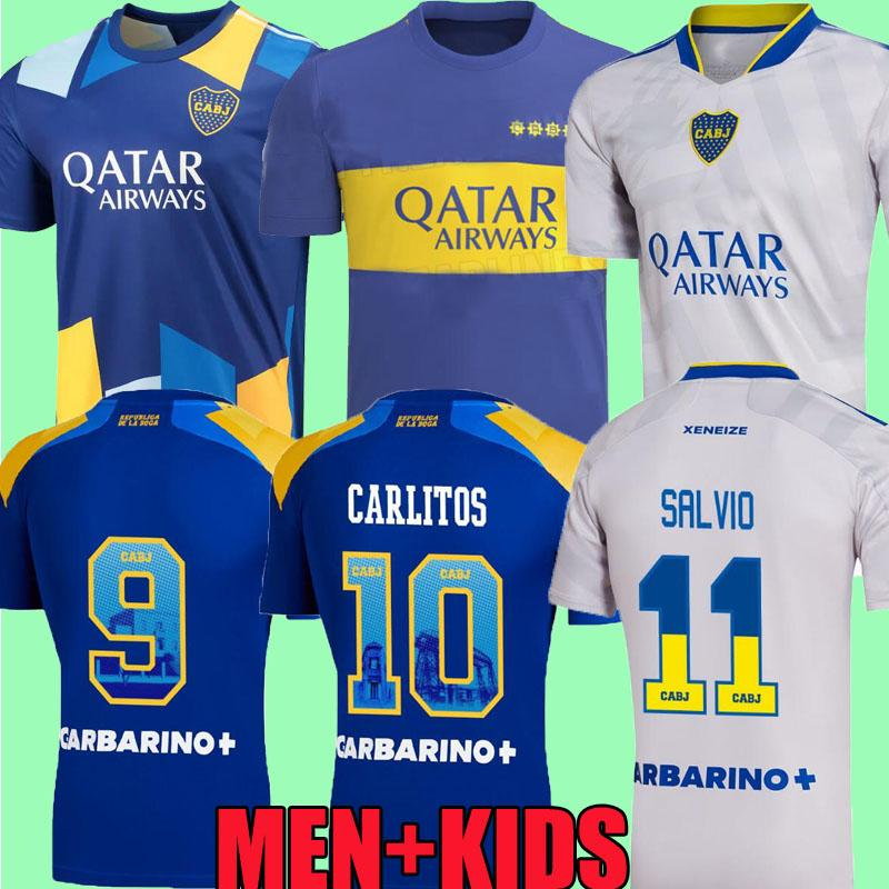 21 22 Boca Juniors Soccer Jerseys 2021 2022 Cristian Pavon Tevez Carlitos Maradona Football Shirts de Rossi Almendra Salvio Abila زي Cabj Kids Kit Camiseta Top