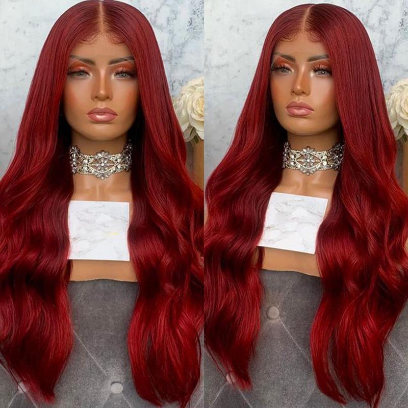Dantel Peruk 99j Vücut Dalga Bordo Renkli İnsan Saç Kadınlar Için Remy Brezilyalı Şarap Kırmızı Ön Peruk PrePlucked Saç Çizgisi 200% Yoğunluk