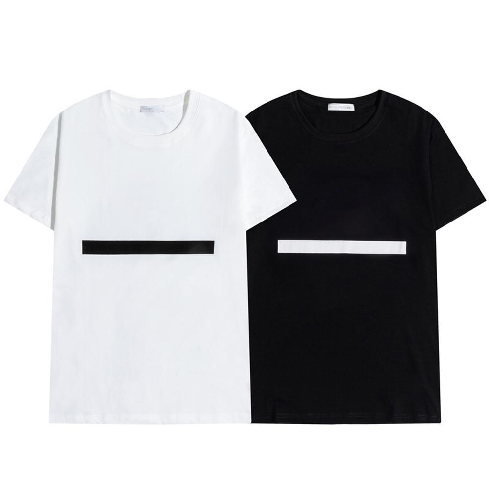 2021 Mens T Shirt Letter Stripe Stripe Stampa Neck Manica corta Moda Hobby Designer Bianco e nero M-2XL